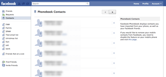 Facebook Contacts – How to Remove Phone Numbers