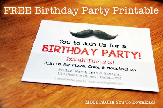 free birthday invitation download moustache printable