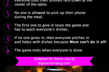 phone stacking game at dinner