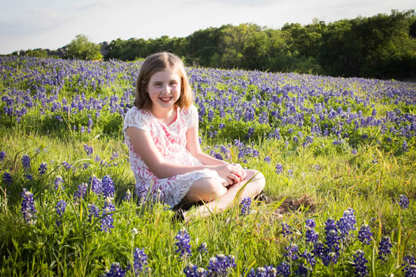 Zowie in the bluebonnets