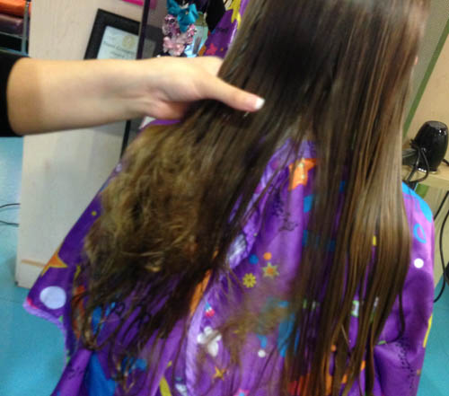 Detangling hair with knot genie