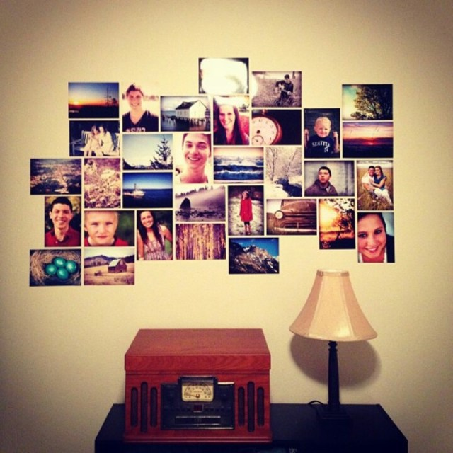 Photo wall arrangement idea