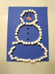 marshmallow snowman toddler craft