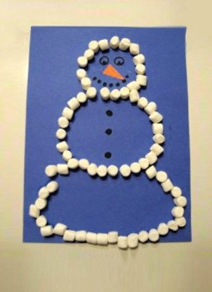 marshmallow snowman toddler craft