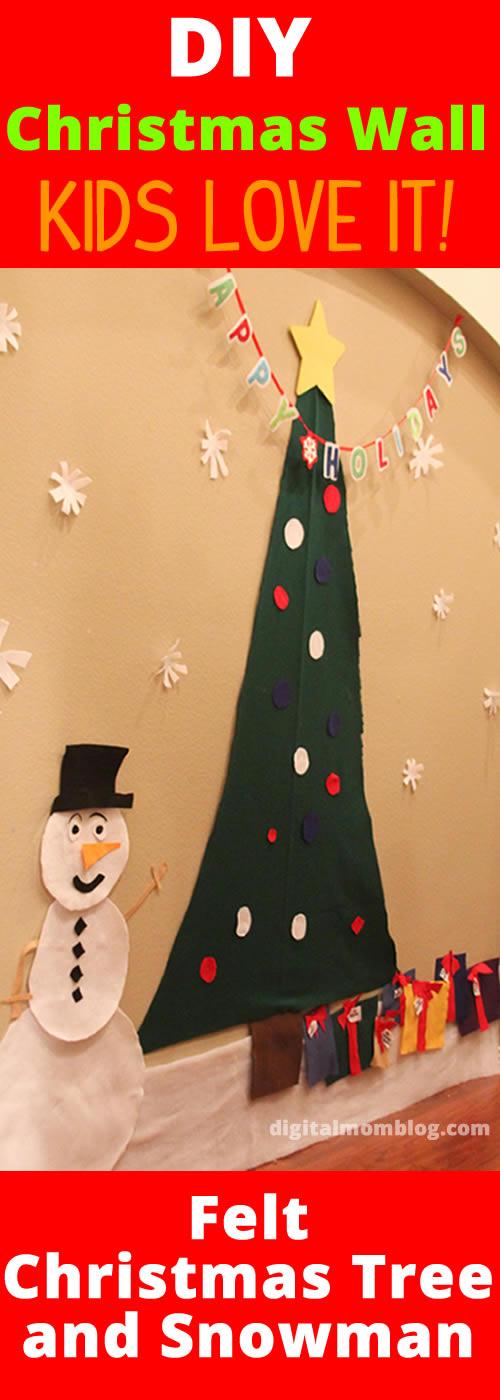 Wall Felt Christmas Tree and Felt Snowman