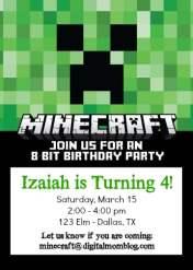 minecraft invitations - party invite 8 bit birthday party