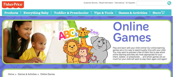 Fisher Price website for kids