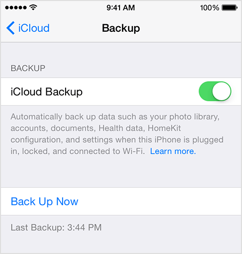 setup backup on new phone