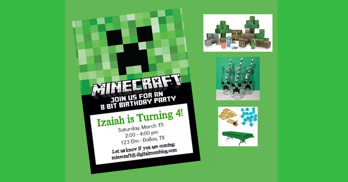 minecraft printables invitations decor balloons