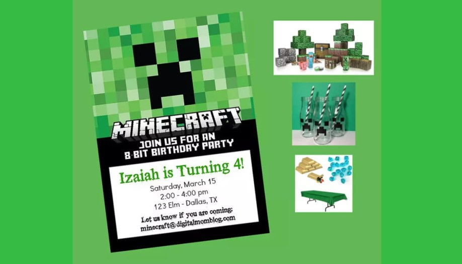 Free Minecraft Birthday Invitations - Personalize For Print