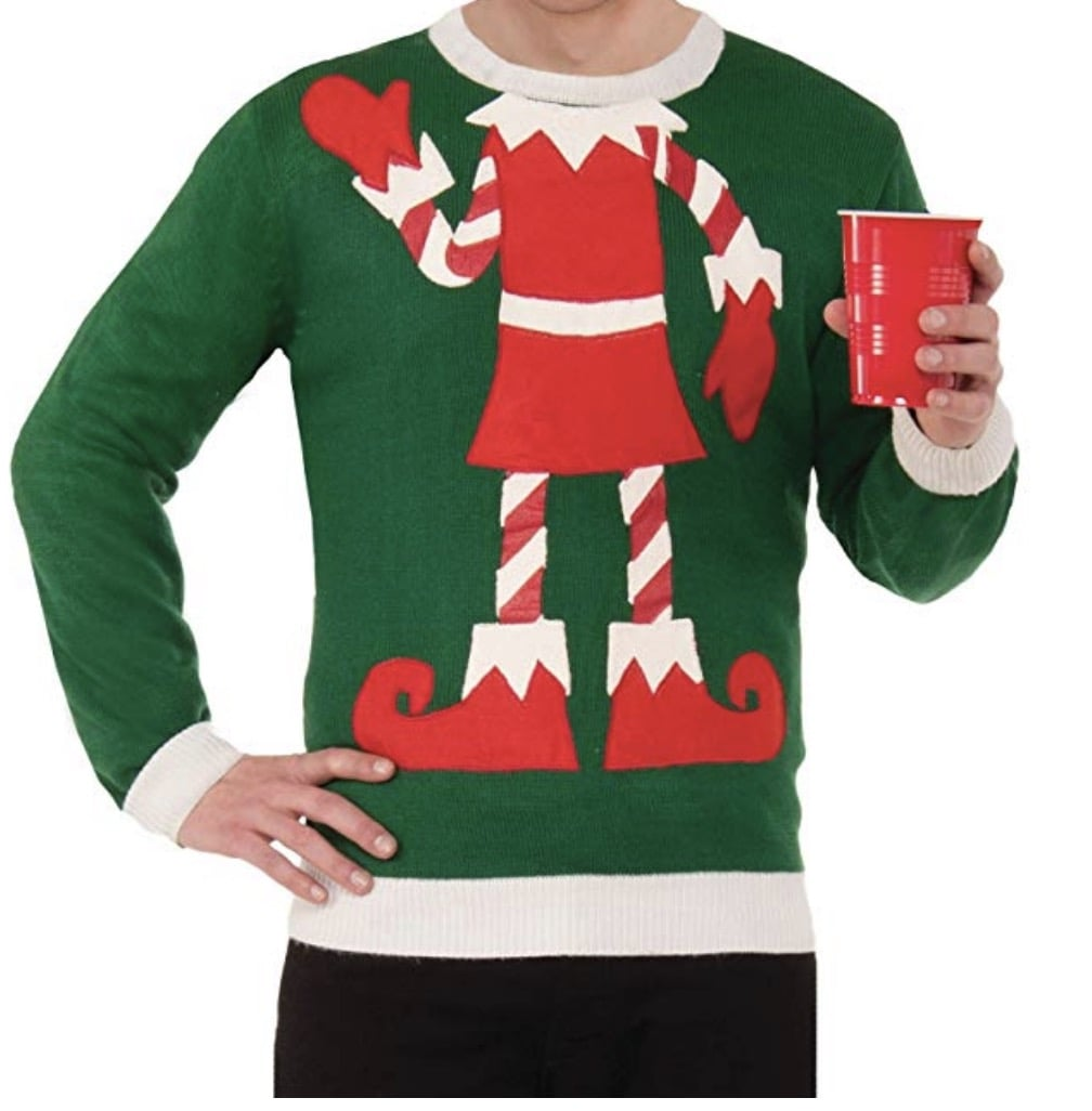 tacky christmas sweater with elf body