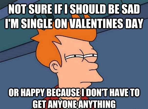 Not sure if i should be sad i'm single on valentine's day or happy because i dont have to get anyone anything - funny single valentine meme