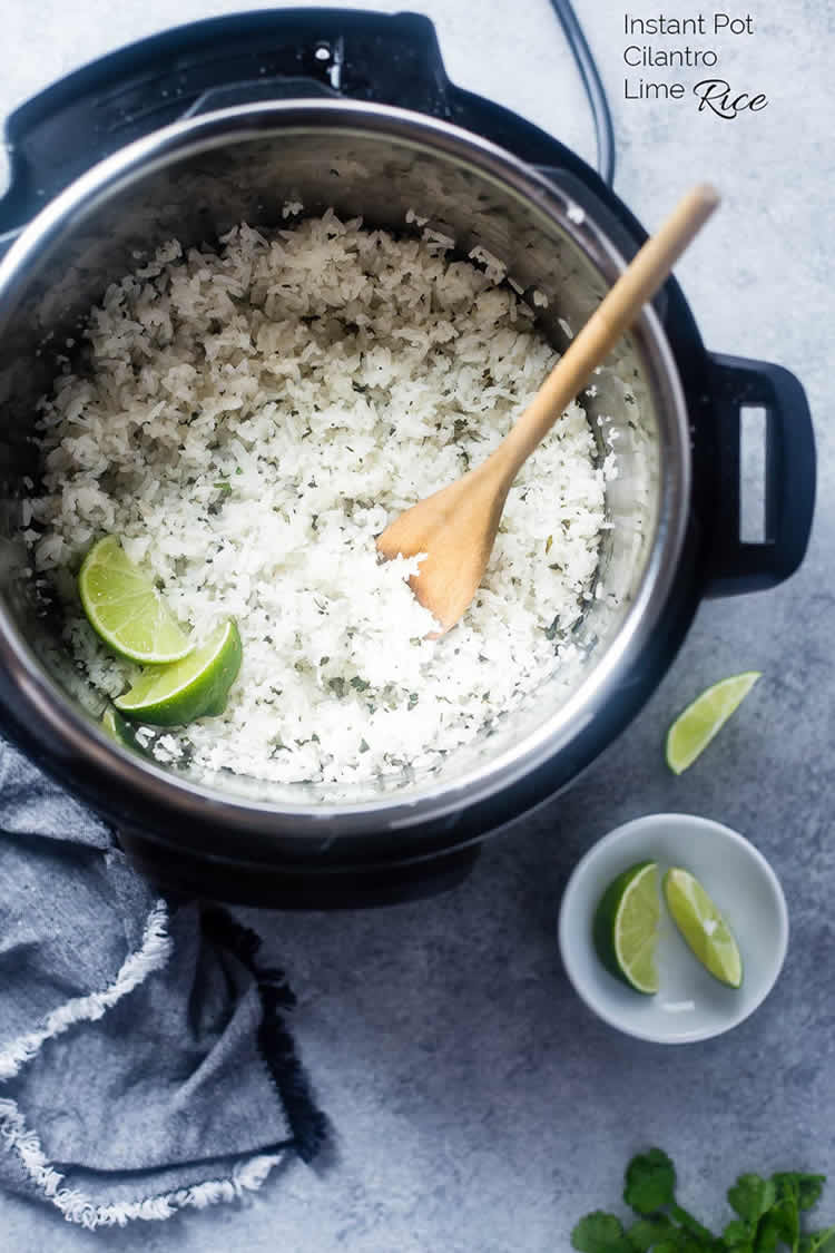 instant pot filled with cilantro rice and lime