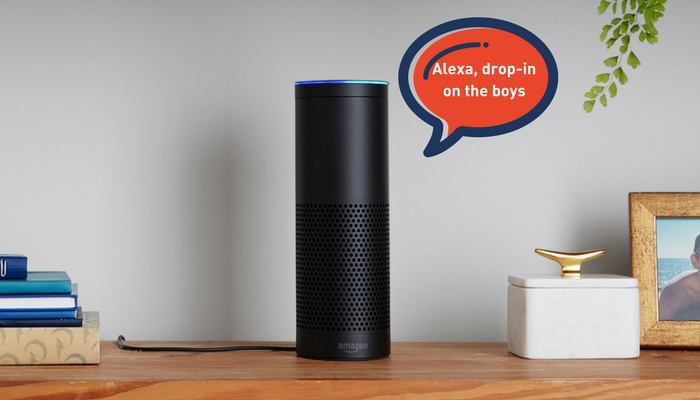Amazon Echo on a shelf talking to alexa to use intercom
