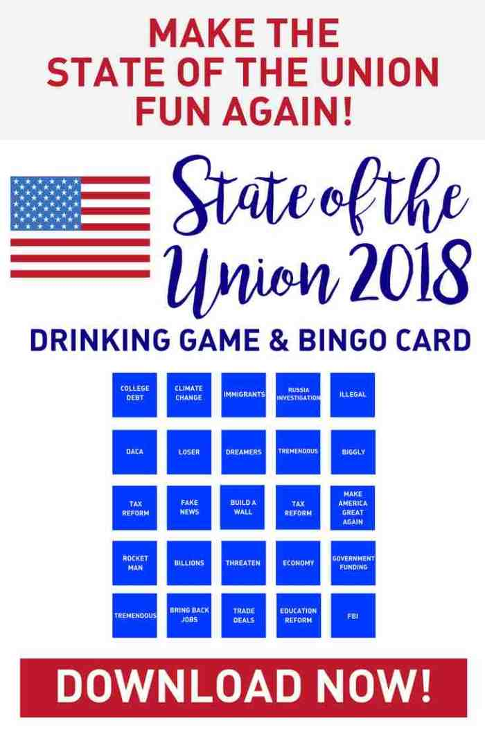 SOTU Drinking Game and BINGO Printable