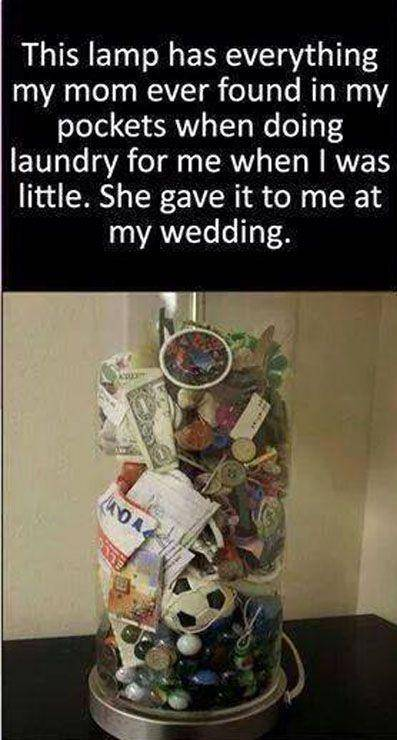 jar filled with everything from pockets when mom was doing laundry best wedding gift idea