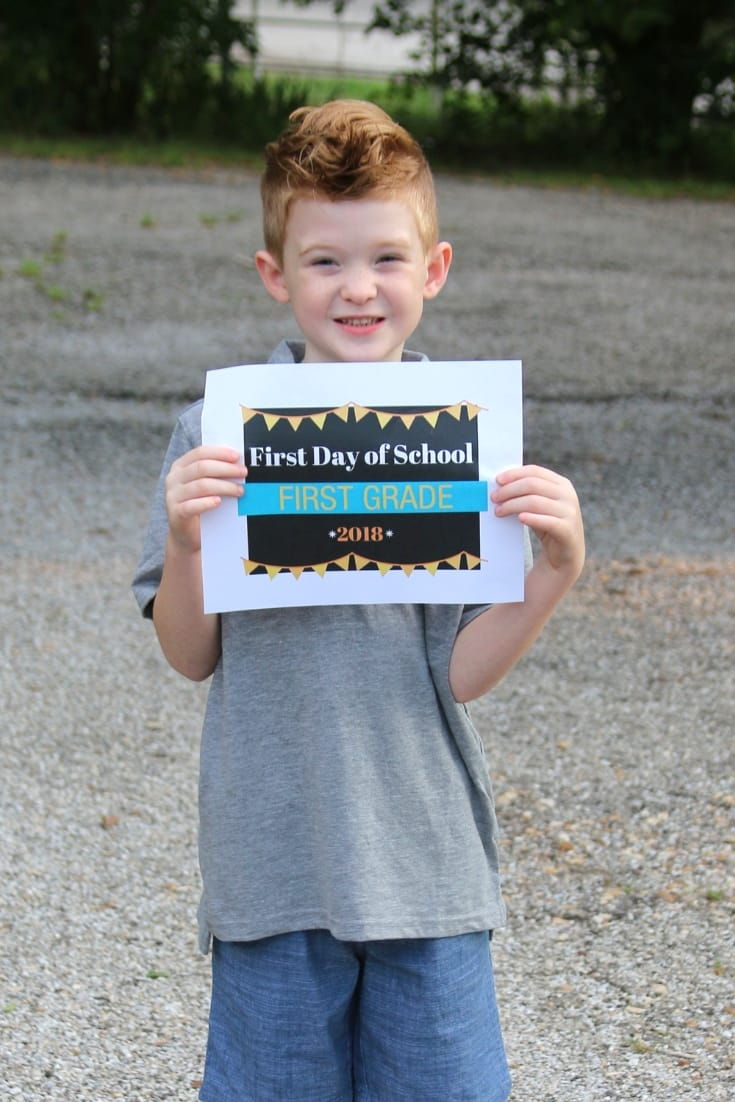 first day of school first grade sign free printable