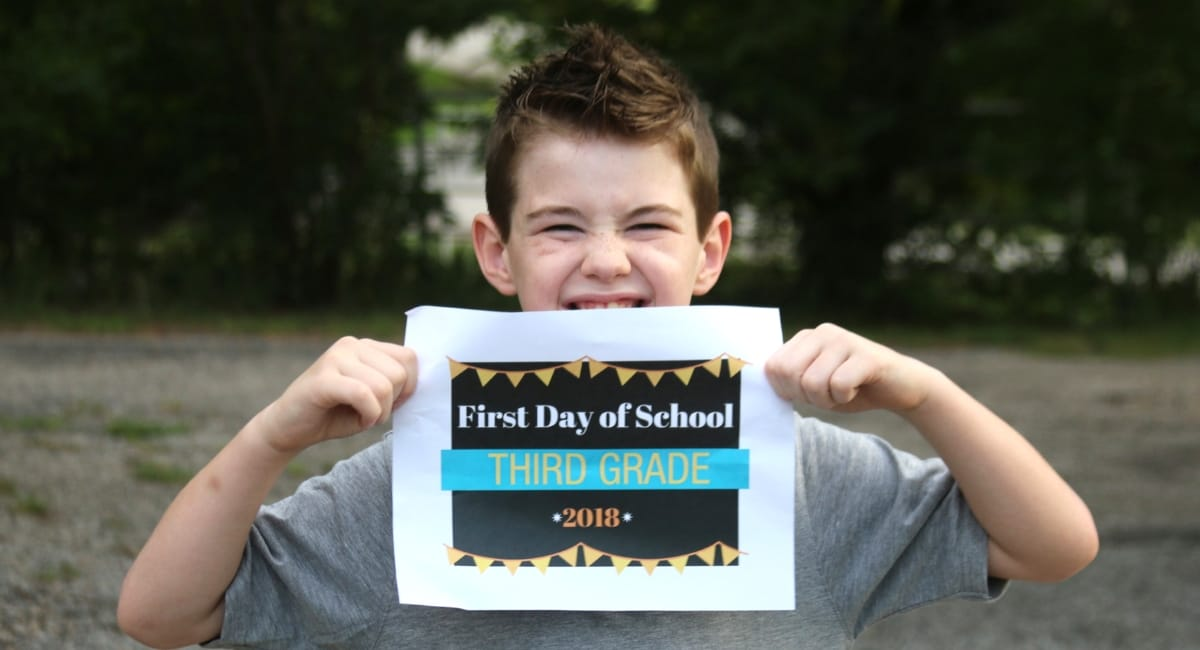 first day of school third grade sign printable free