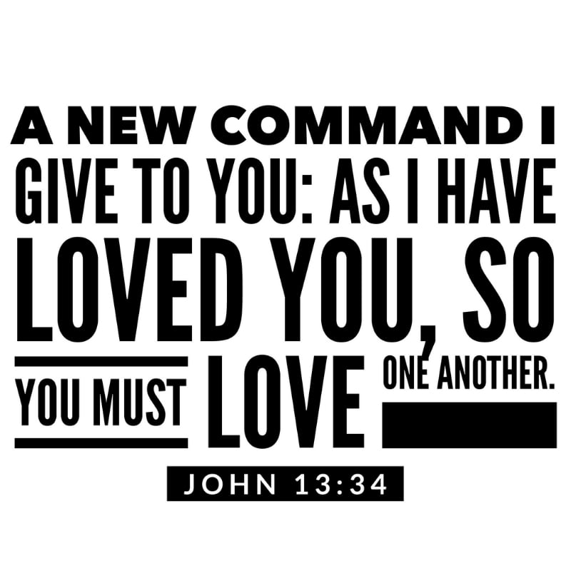 A new commandment I give to you, that you love one another; as I have loved you, that you also love one another. John 13:34 Love One Another Bible Verse