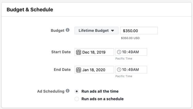 Facebook campaign scheduling options