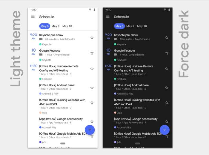 android q dark and light theme