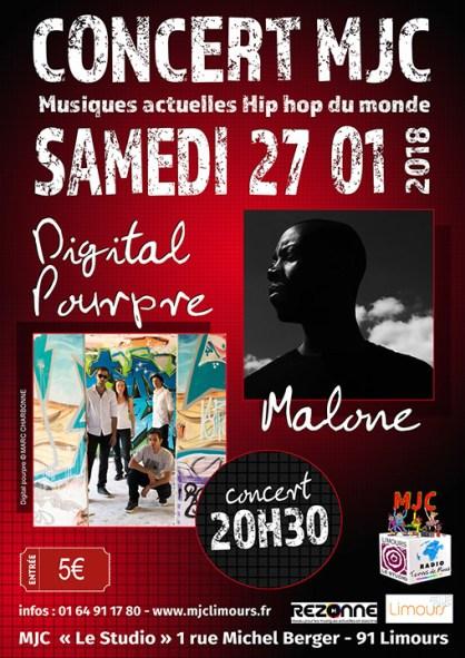 Affiche concert avec Malone le 27/01/18 à Limours