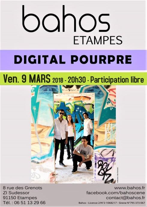 Affiche concert 09/03/18 au Bahos Etampes