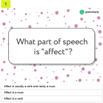From Grammarly: How well do you know your grammar? Affect vs. Effect