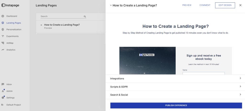 Instapage - publish landing page