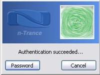 Biometric authentication (fingerprint blurred)