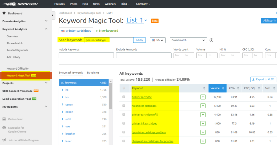 keywords magic tool