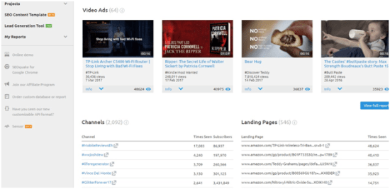 SEMRush competitor video ads report