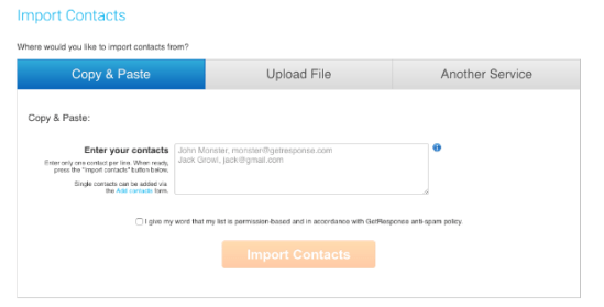 Importing Contacts in GetResponse