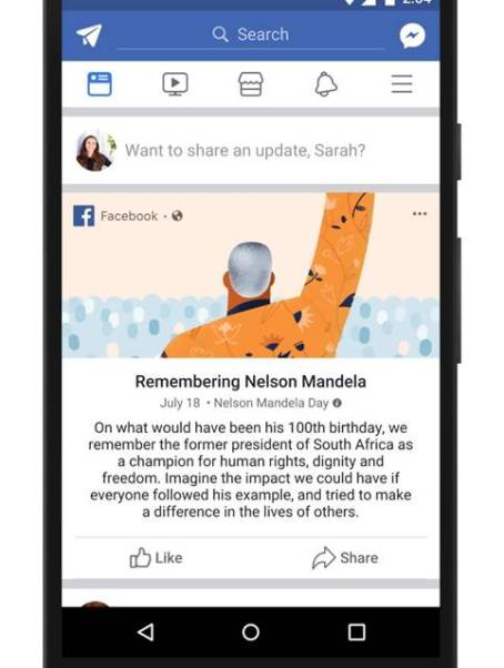 Facebook Celebrates Centenary of Nelson Mandela's Birth by