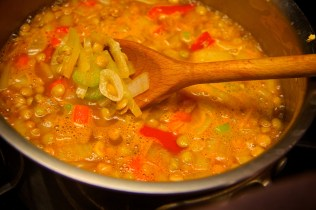 Simmer veggies and lentils