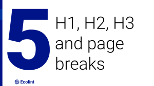 H1, H2, H3 and page breaks