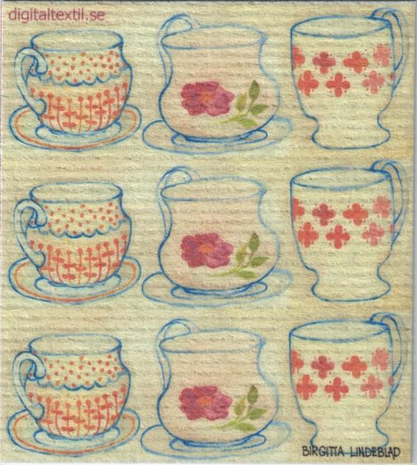 Disktrasa med motiv av Kaffekopparna Birgitta Linderholm