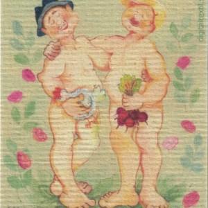 Disktrasa med motiv av Goa gubbar Birgitta Linderholm