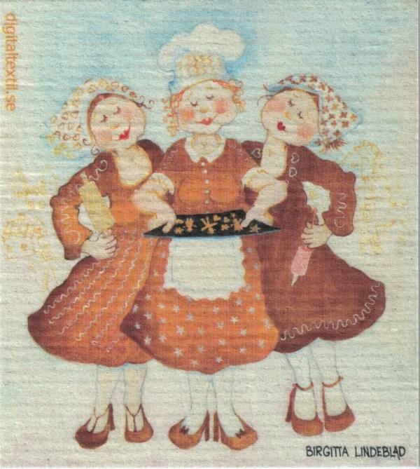 Disktrasa med motiv av Pepparkaksgummor Birgitta Linderholm