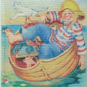 Disktrasa med motiv av Fiskelycka Birgitta Linderholm