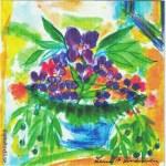 Disktrasa med motiv vas med lila blommor Lena Linderholm
