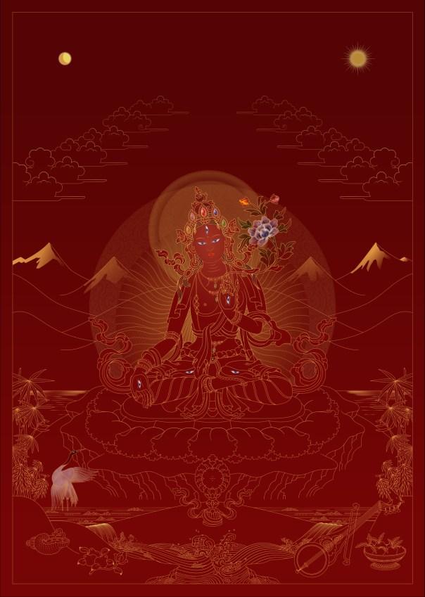 White Tara – Gold on Red