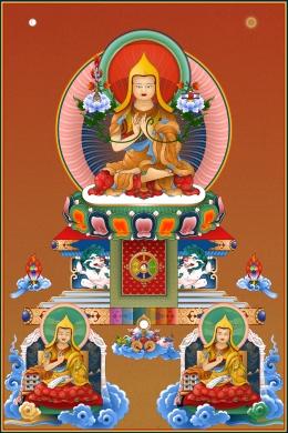 Lama Tsongkhapa with disciples