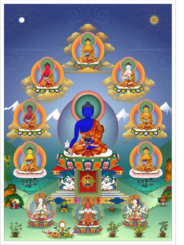 Eight Medicine Buddhas with the three longevity deities