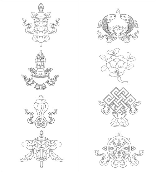 EIght Auspicious Symbols Black&White