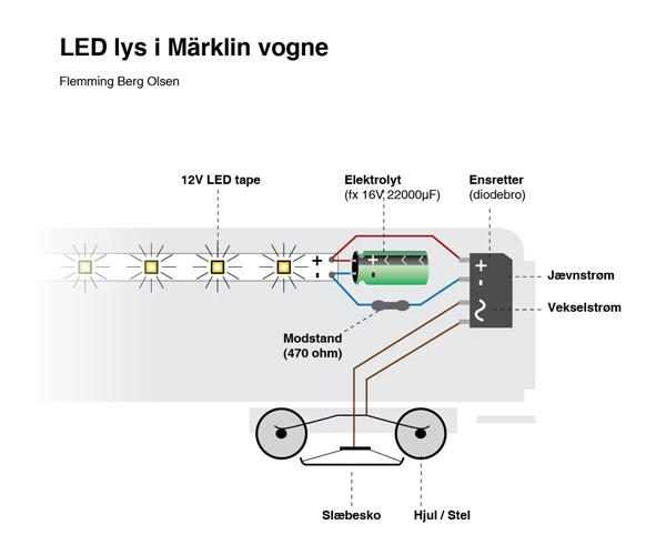 Vognbelysning LED og kondensator