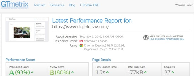 page loading speed performance report