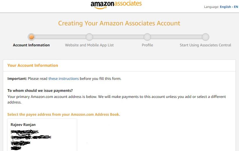 Création de votre compte Amazon Associates: informations sur le compte