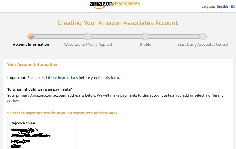 Creating Your Amazon Associates Account: Account Information