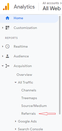 Referrals: Google Analytics